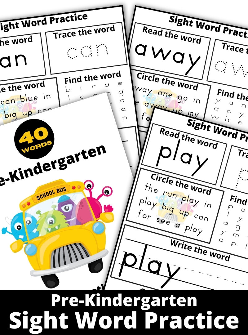 Free Printable Pre-K Sight Word Practice Sheets