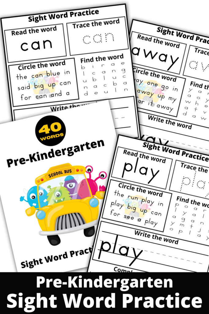 Free printable Pre-K Sight Word Practice Sheets from the Dolce Sight Word List. Includes 40 Sheets for your child to learn from!
