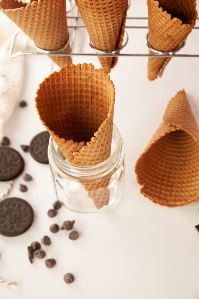 These homemade waffle cones are perfect for holding scoops of your favourite homemade ice cream - easy to make and delicately crisp.
