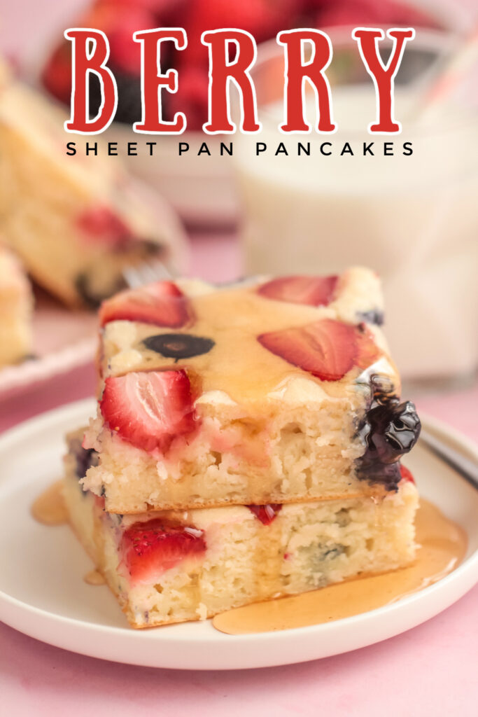 Feed a crowd at the breakfast table with these Berry Sheet Pan Pancakes! These are quick and easy fluffy pancakes bursting with fresh berries!