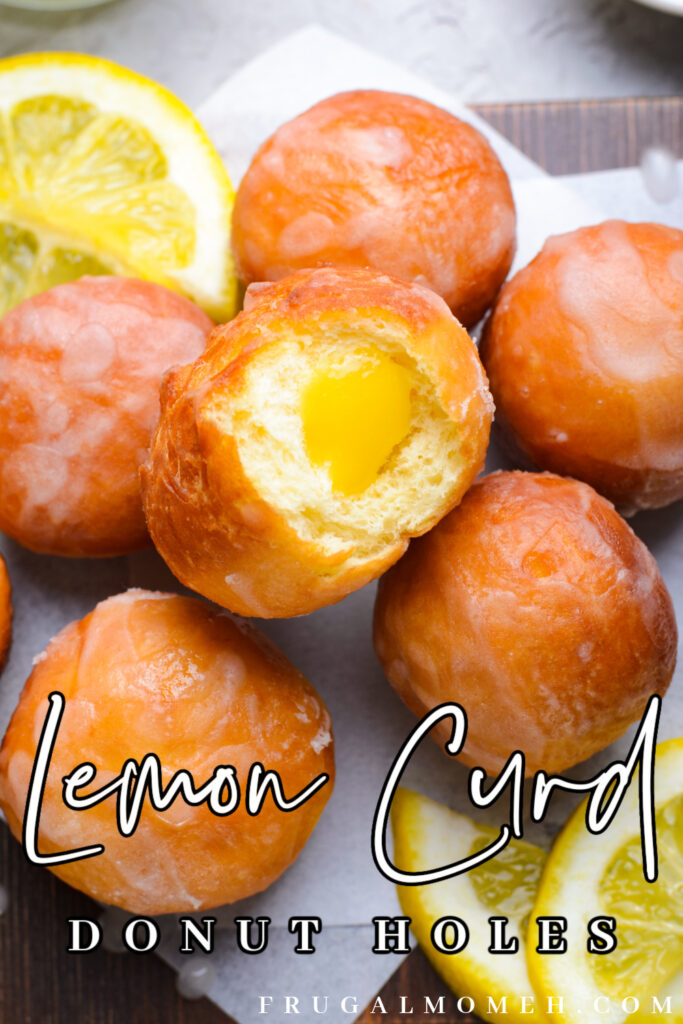 Lemon curd donut holes are a lemony delight - soft donut holes are filled with sweet and tart lemon curd, and covered with a sugar glaze.