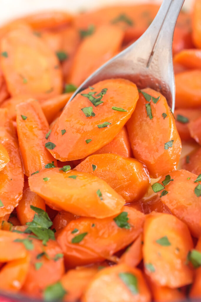 These glazed carrots are smothered in brown sugar and butter for an easy side dish that's perfect for a holiday meal or weekday dinner.