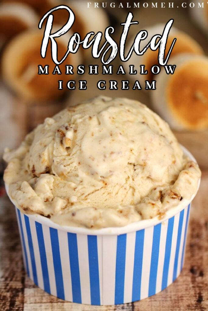 This Roasted Marshmallow Ice Cream recipe turns a campfire treat into a creamy, no-churn ice cream loaded with gooey roasted marshmallows.
