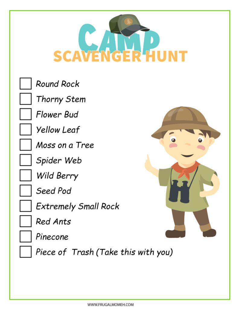 Free Printable Camp Scavenger Hunt