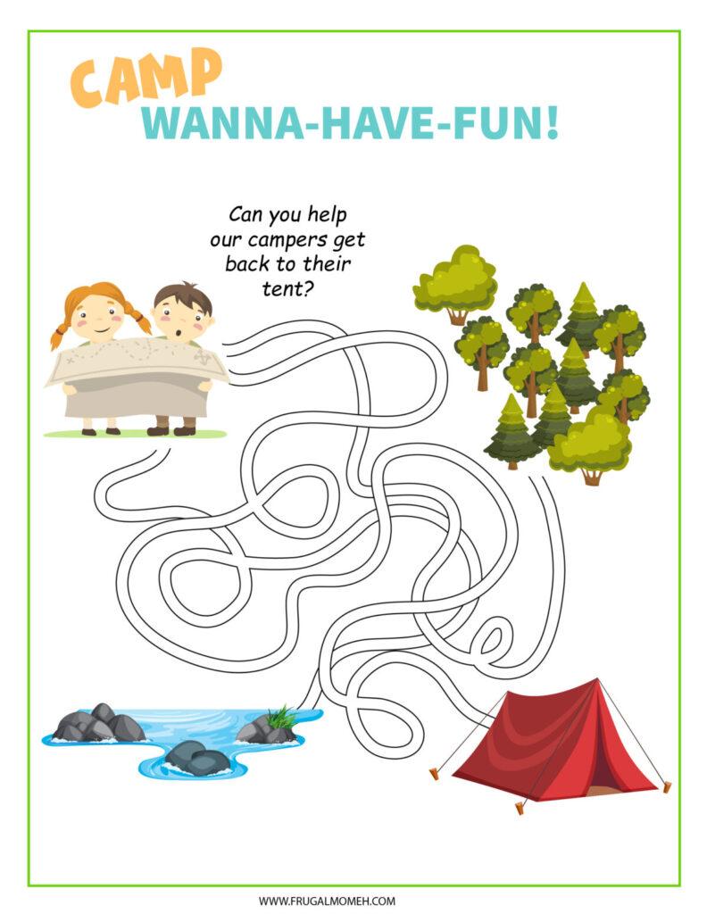 Free Printable Camping Maze Activity Sheet