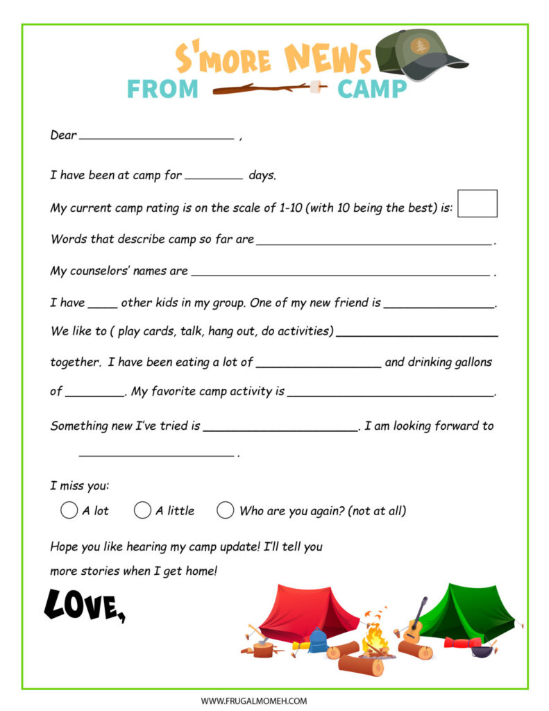 Free Printable Camping Letter