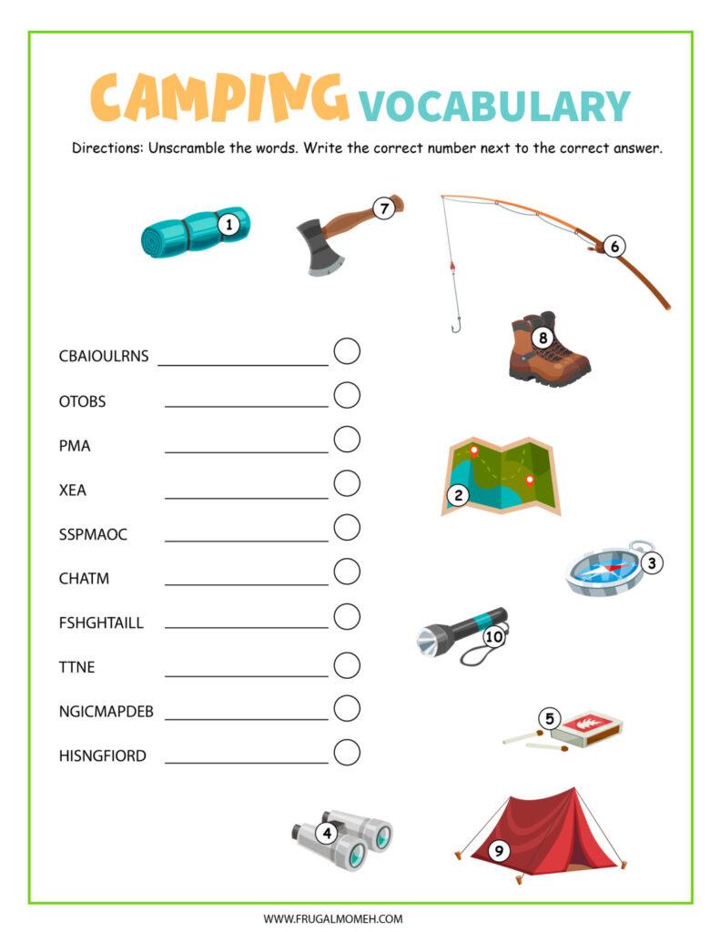 Free Printable Camping Word Scramble Activity sheet