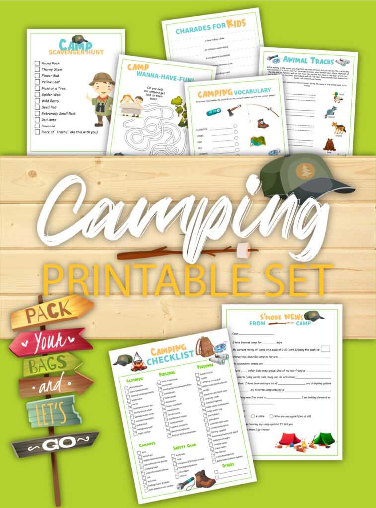 Take this free family camping checklist and activity sheet printable along on your next family camping trip to keep the kids busy!