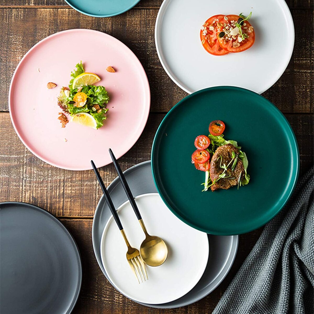 Swuut Matte Ceramic Salad Plates 8 Inch,Set of 4