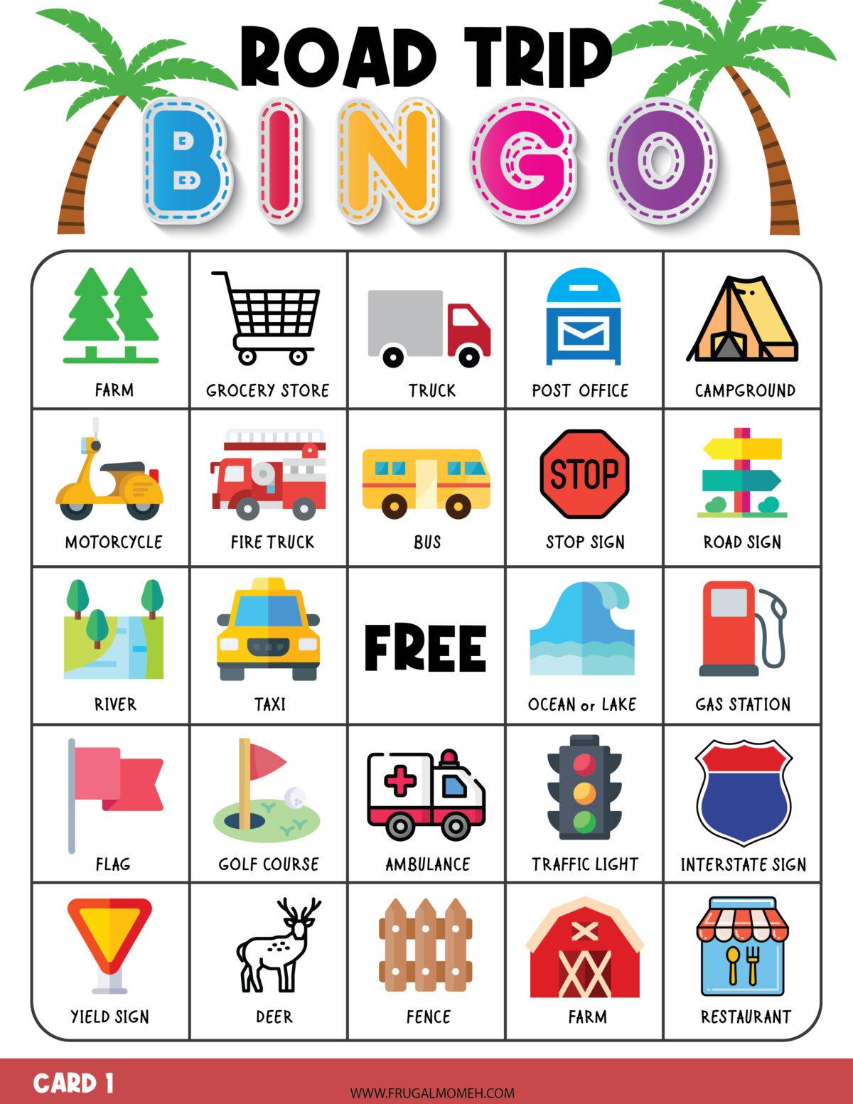 Road Trip Bingo Activity Sheet Printable