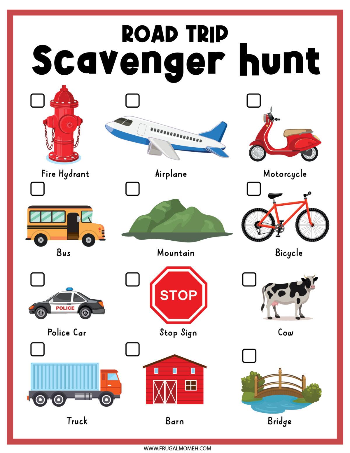 Road Trip Scavenger Hunt Printable Sheet