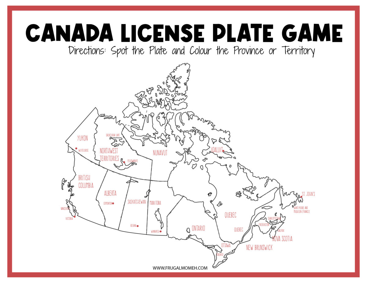 Canadian License Plate Game Printable Sheet