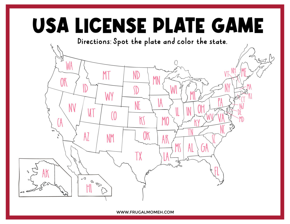 The License Plate Game Printable Sheet