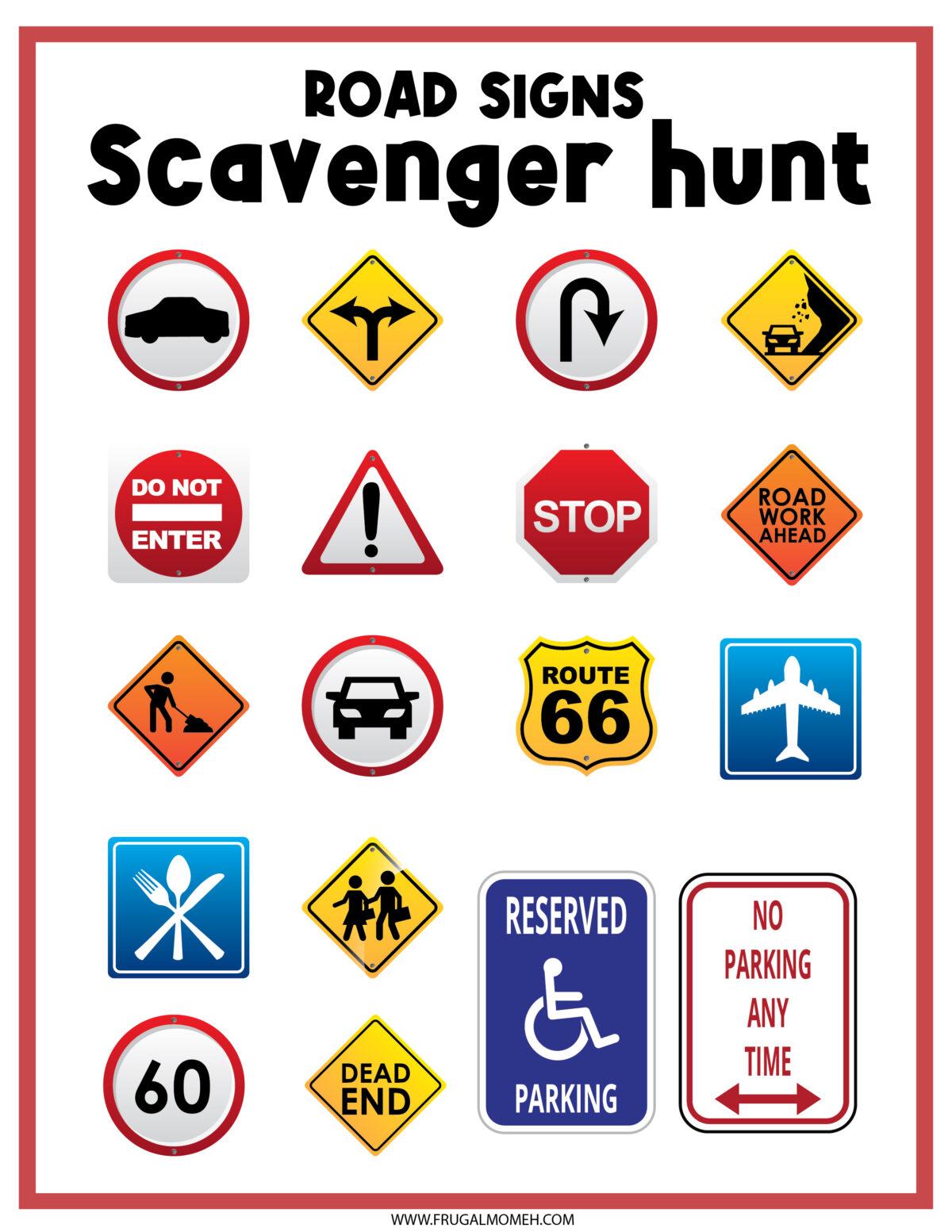 Road Sign Scavenger Hunt  Printable Sheet