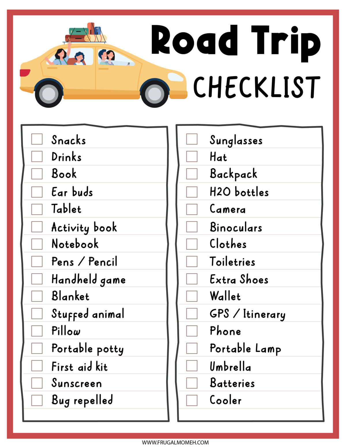 Road Trip Checklist  Printable Sheet