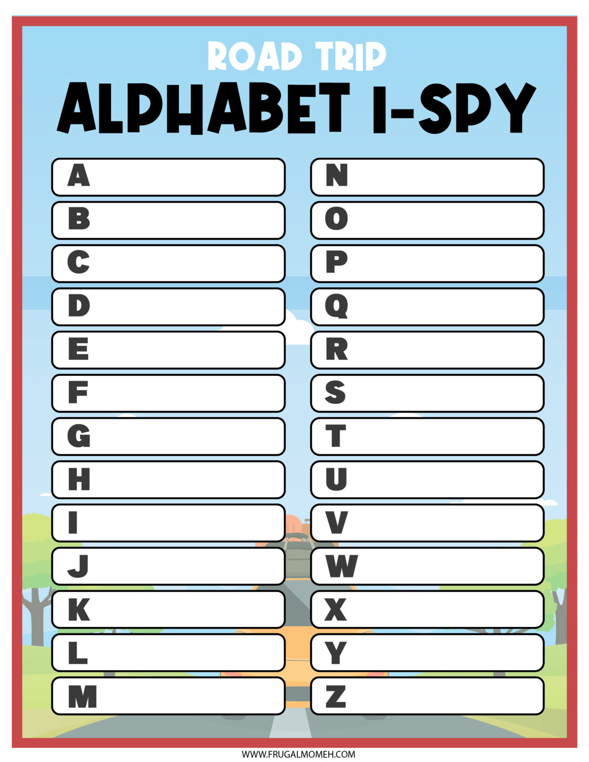 Road Trip Alphabet I-Spy  Printable Sheet