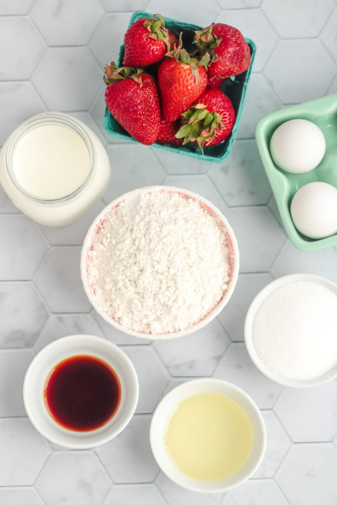 Ingredients for strawberry baked donuts.