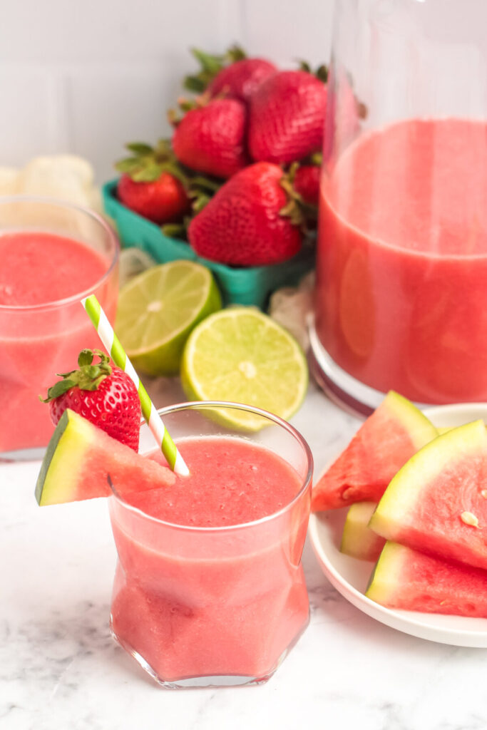 This Strawberry Watermelon Slushie is a refreshing whole fruit summer drink made with real fruit and ice. No Sugar added!