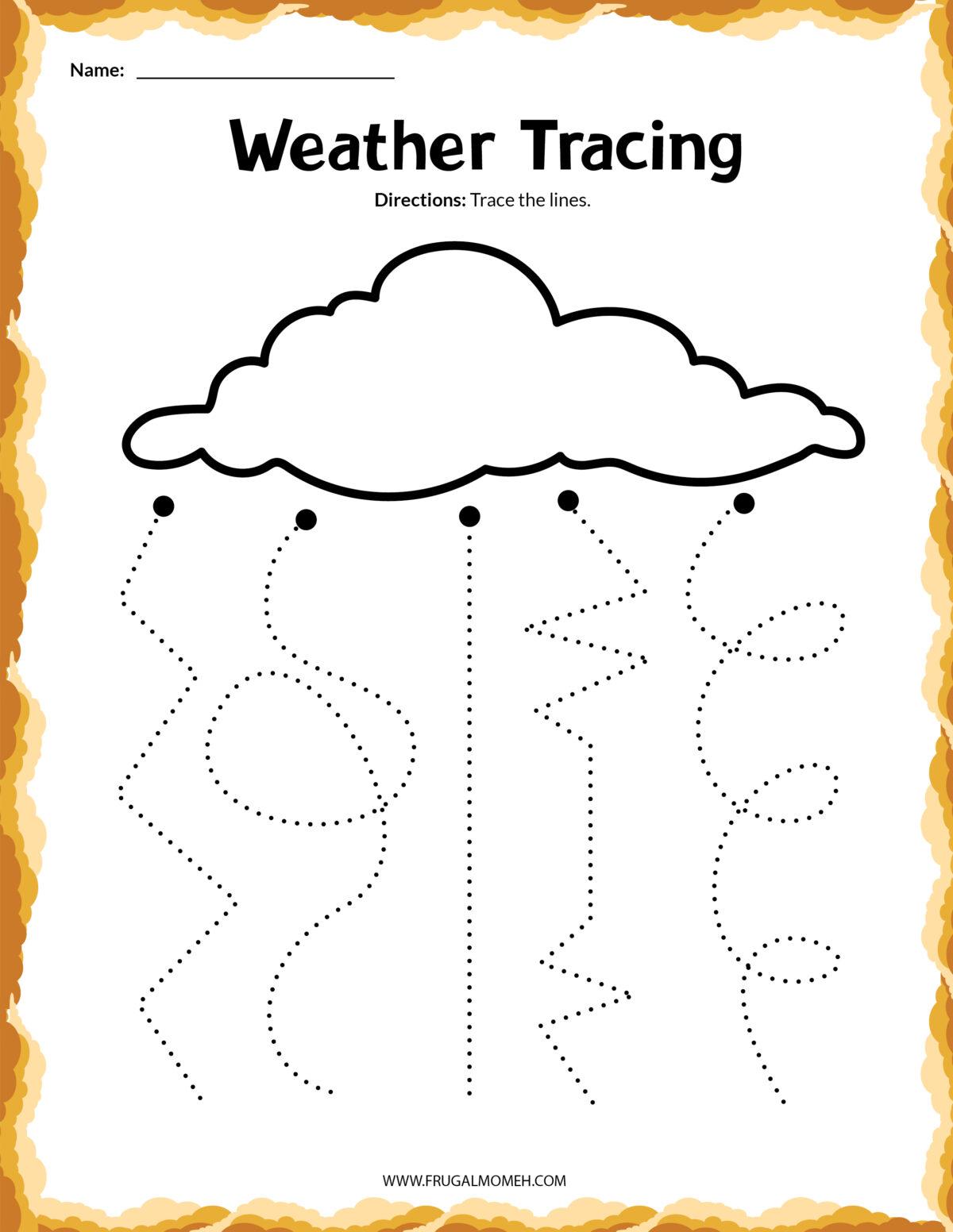 Weather tracing printable sheet.