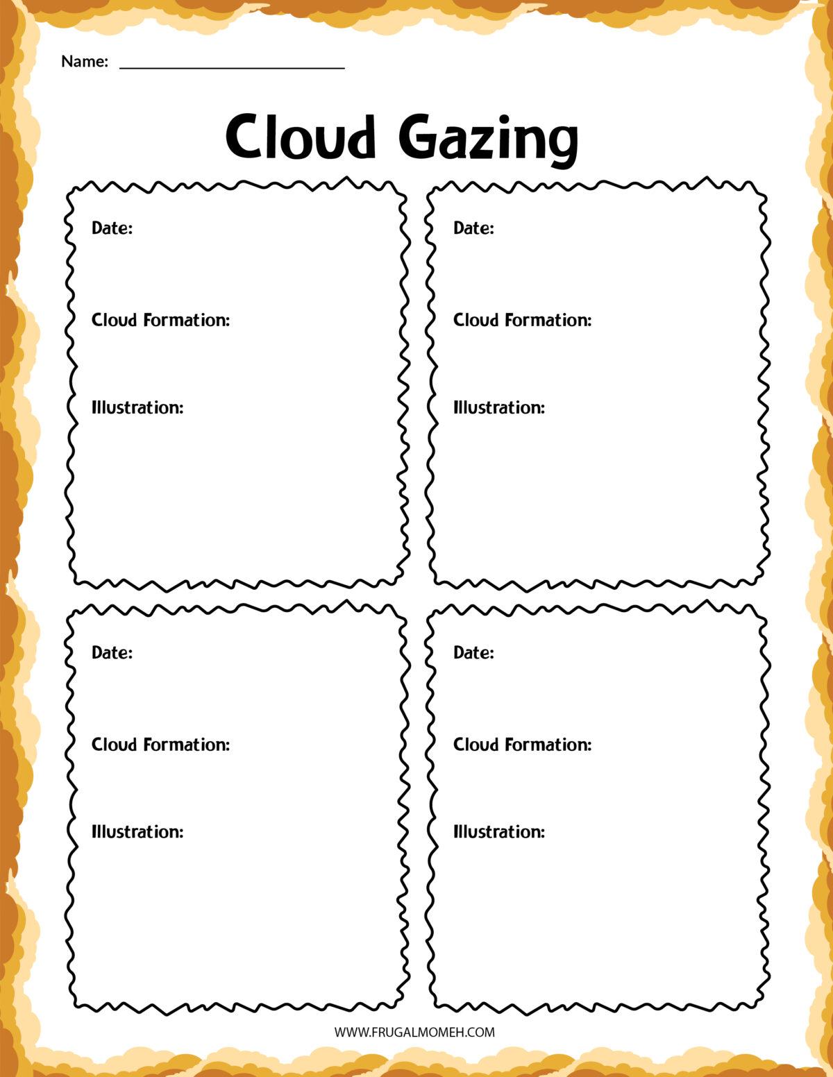 cloud gazing printable sheet.
