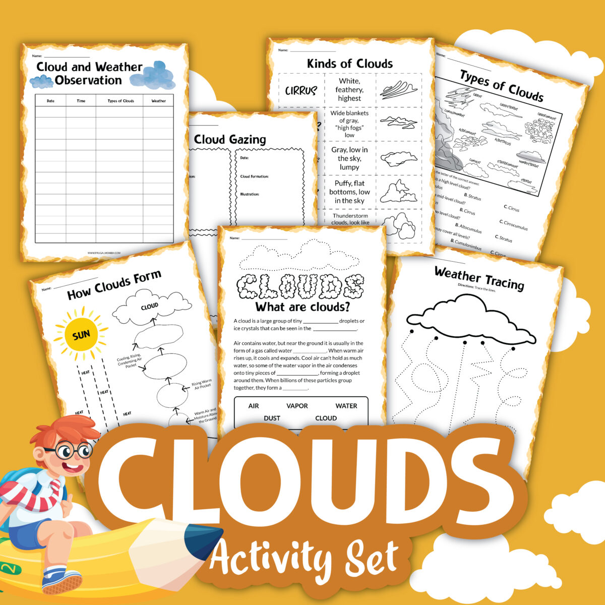 Download this Free Printable Clouds Activity Sheets Set for a fun and engaging learning experience for kids.