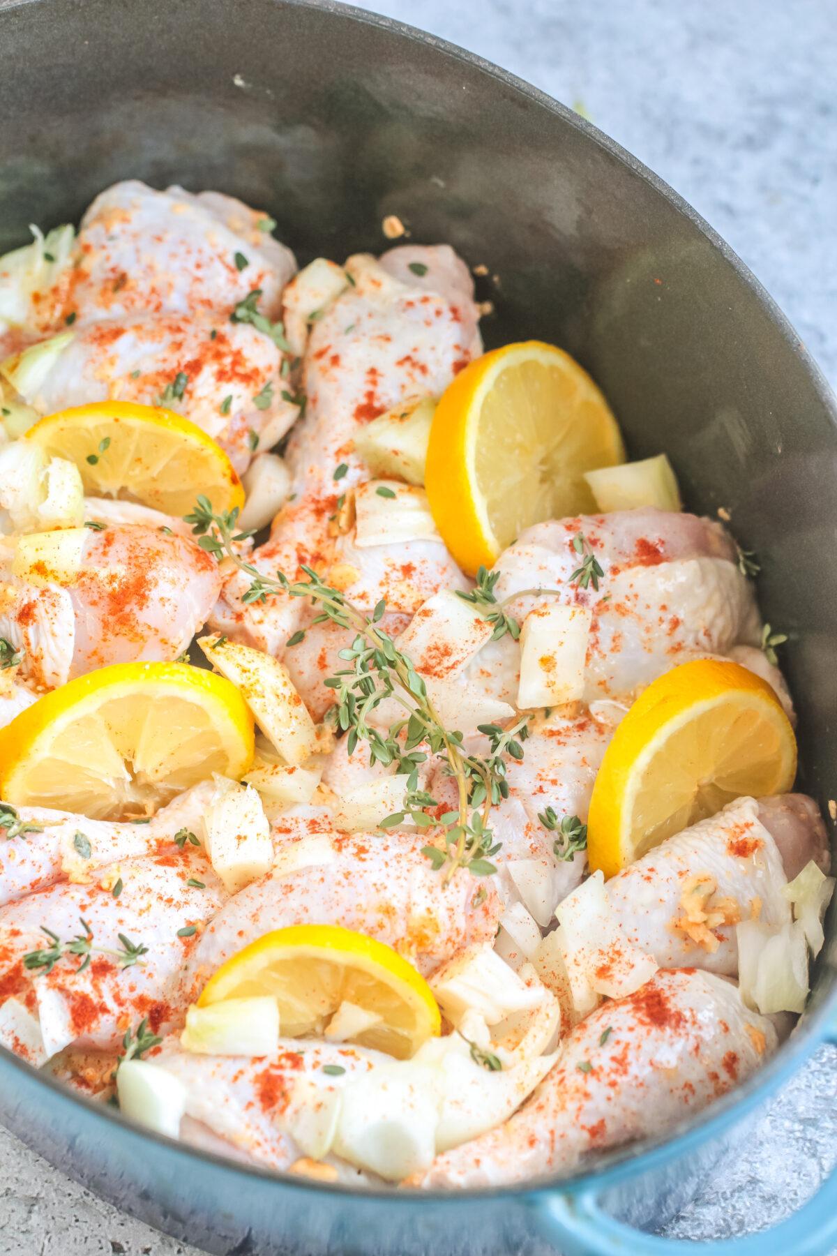 lemon chicken in pan.