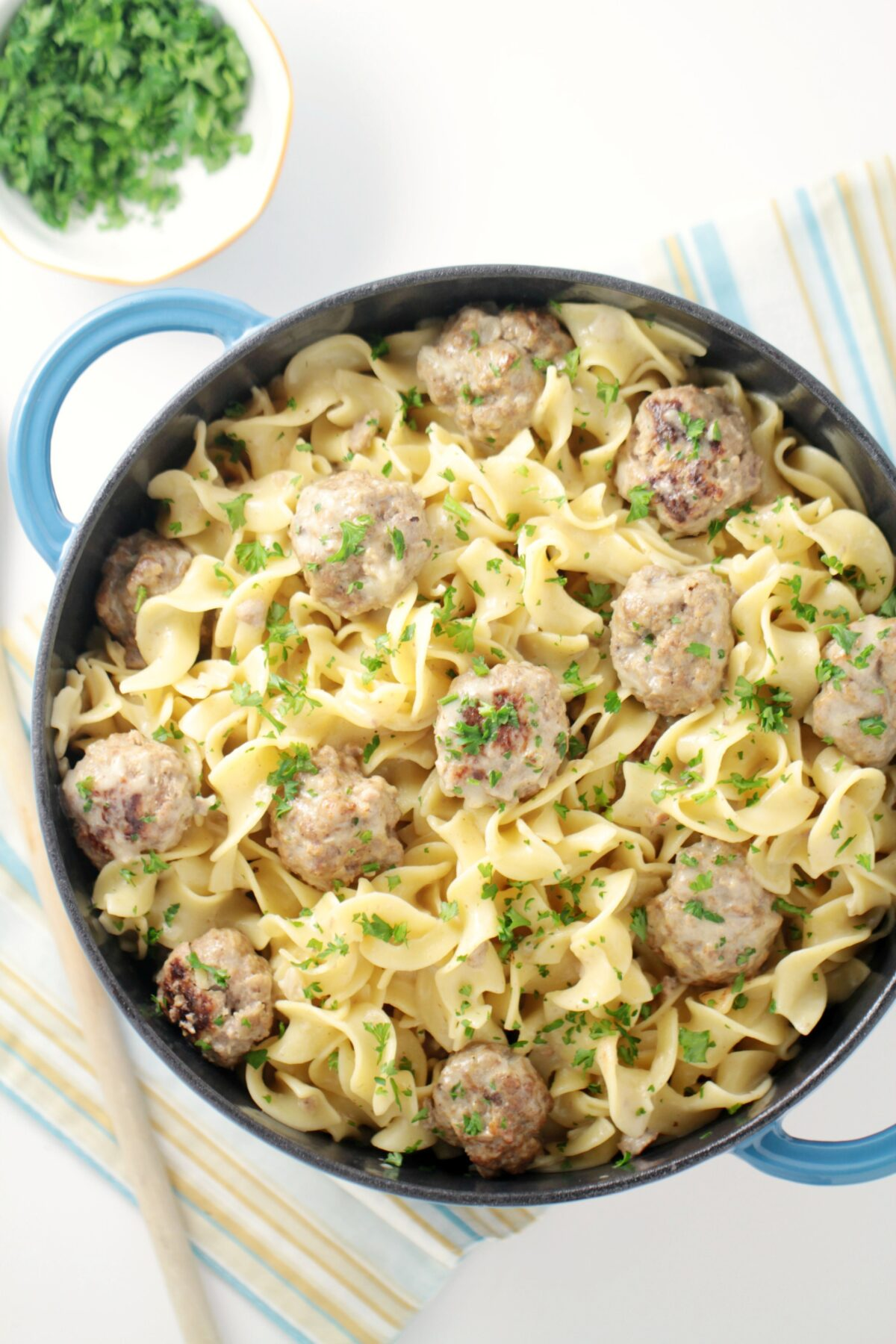 Easy One-Pot Swedish Meatballs with Egg Noodles - your family will love this swedish inspired family meal.