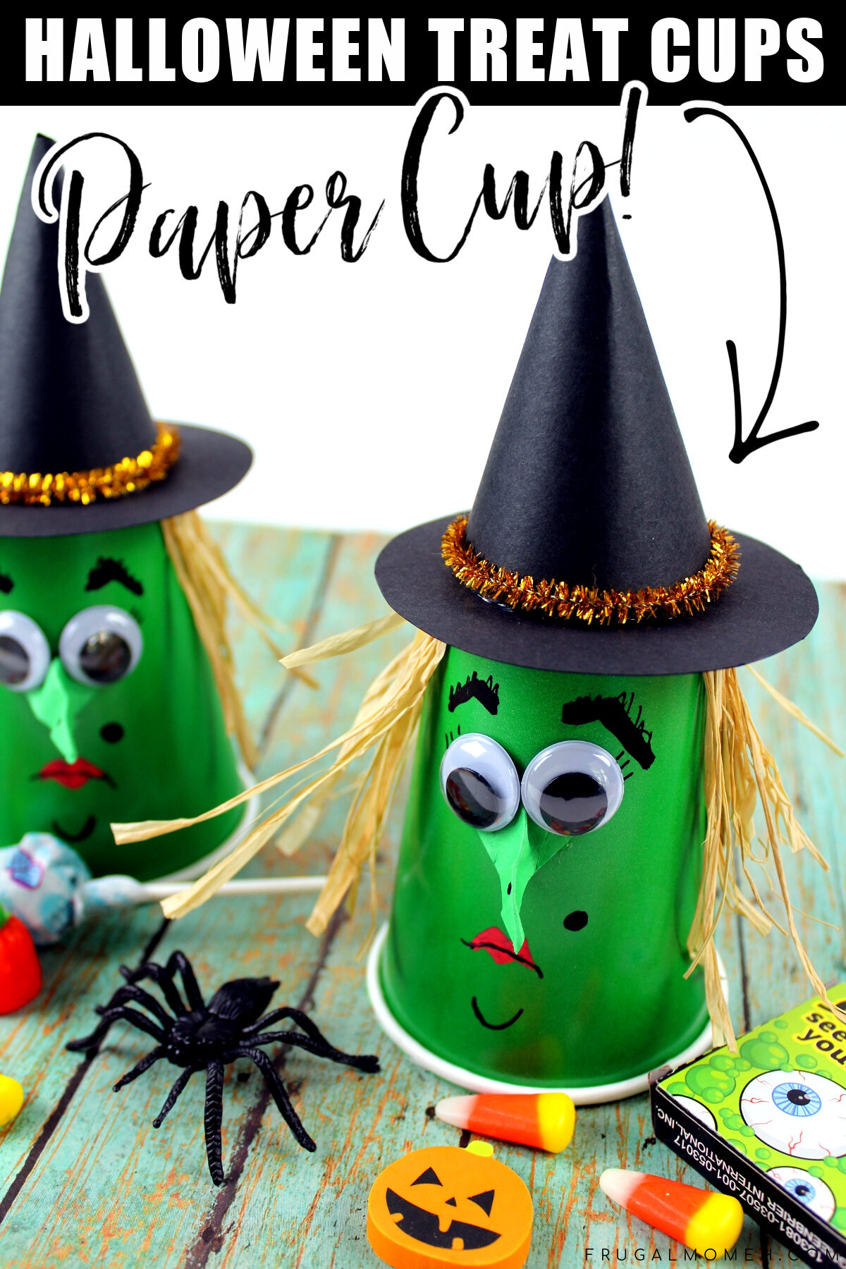 This Witch Halloween Treat Cups kids craft is a great way to celebrate the holiday – they are a fun little Halloween craft kids will enjoy being creative with.