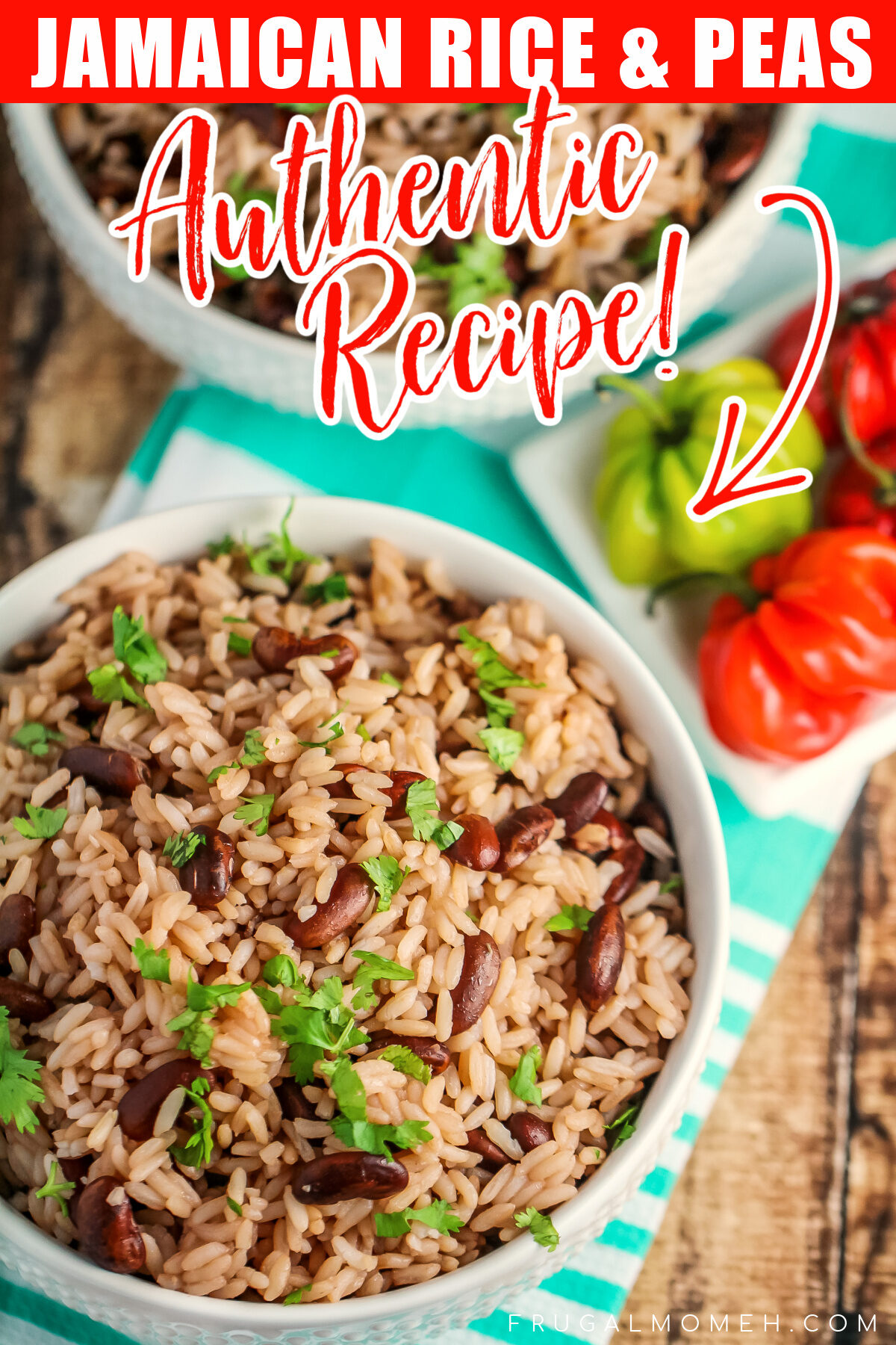 This Jamaican Rice and Peas recipe is an authentic recipe for the traditional Jamaican side dish featuring fragrant thyme and coconut milk!