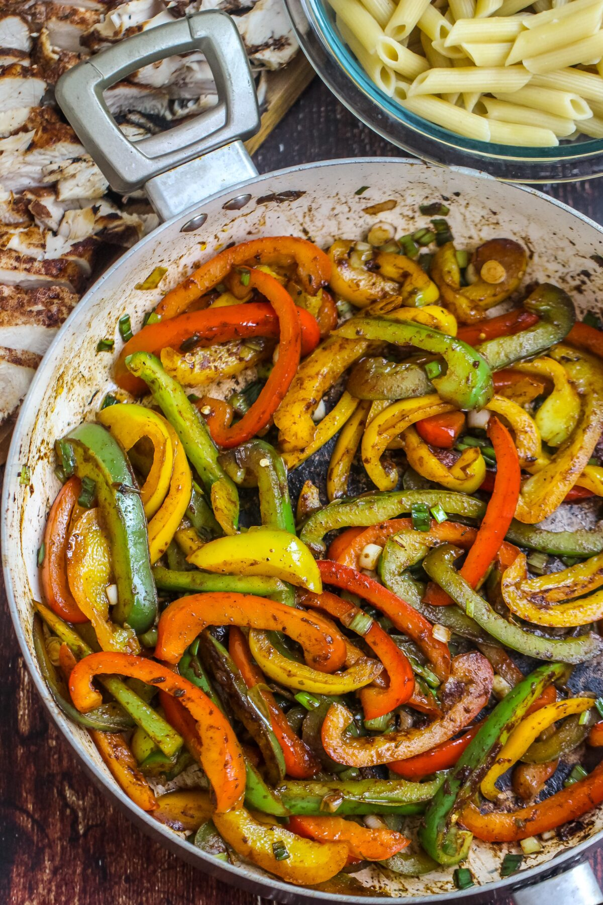 sauteed peppers in sautee pan