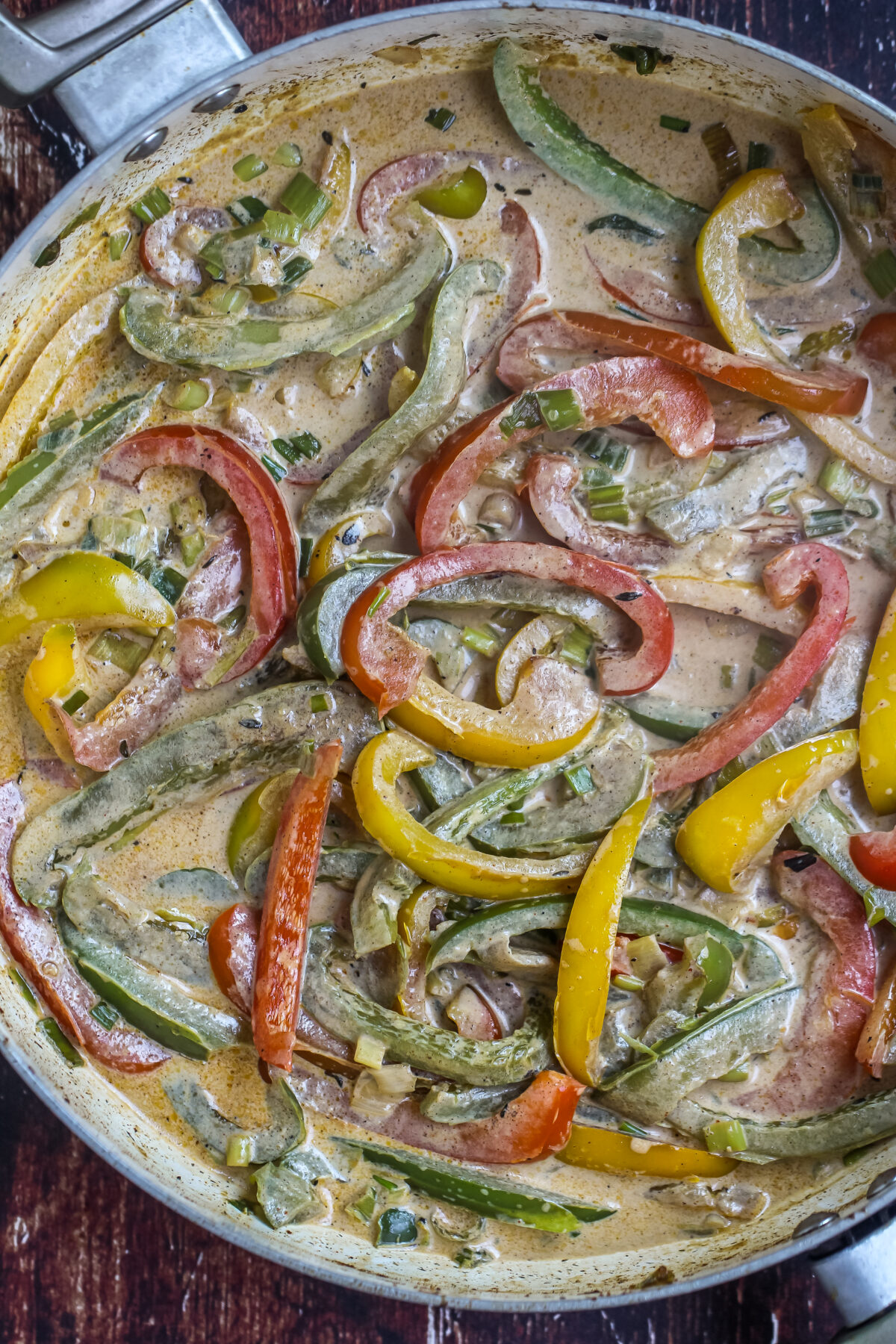 Sauteed peppers in cream sauce.
