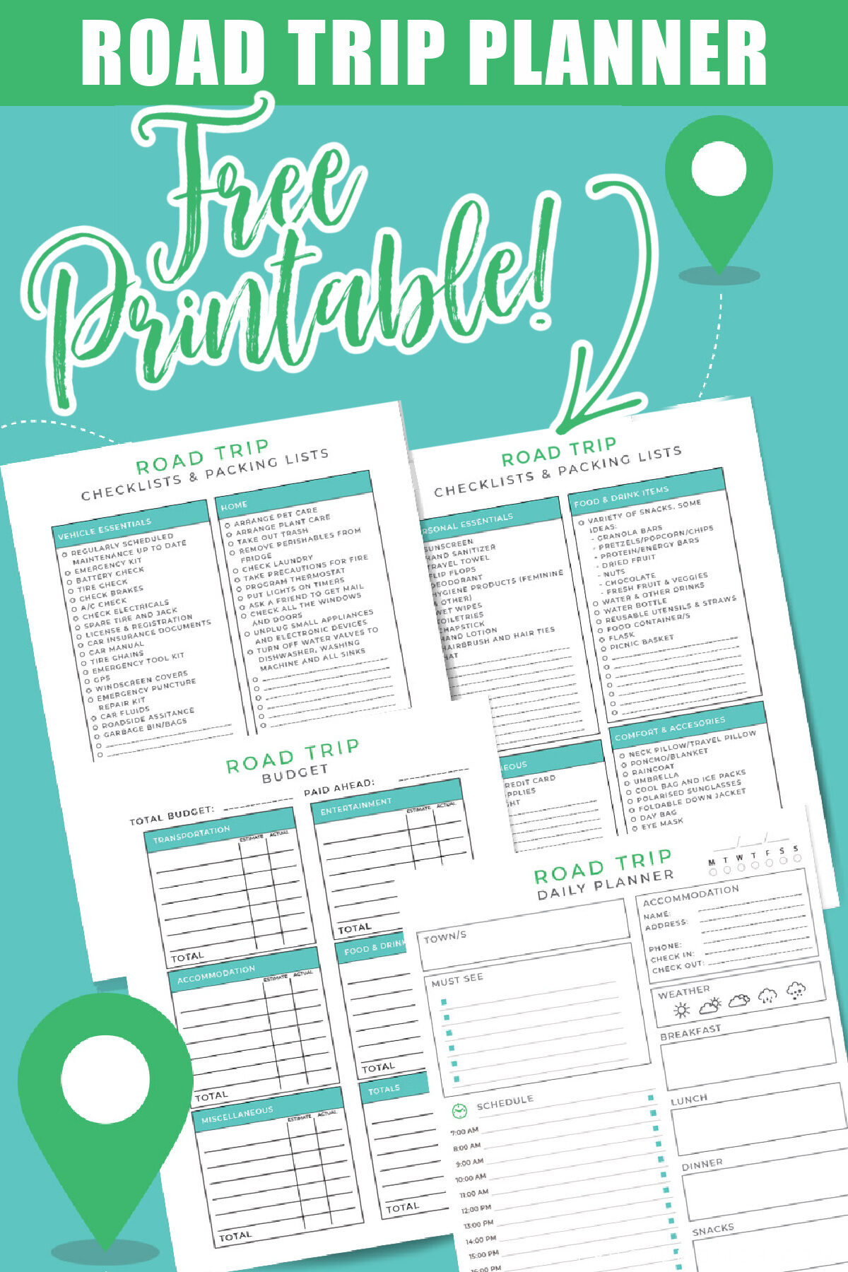 This free printable road trip planner will help you get organized. Keep track of your itinerary, packing lists, budget, and more.