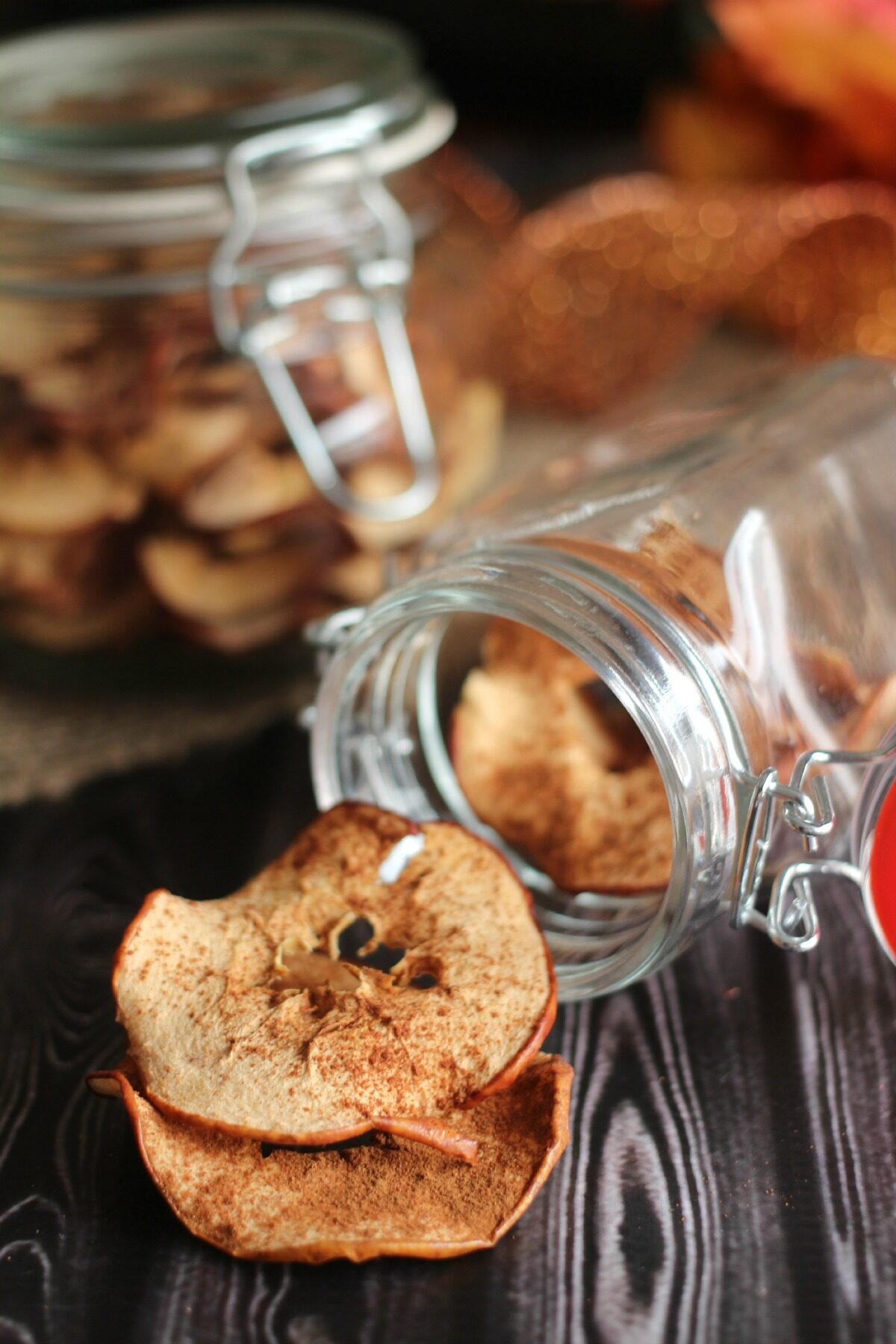 Homemade oven dried apples recipe. A delicious, healthy and easy to make snack that are dried slowly in the oven with a sprinkle of cinnamon.