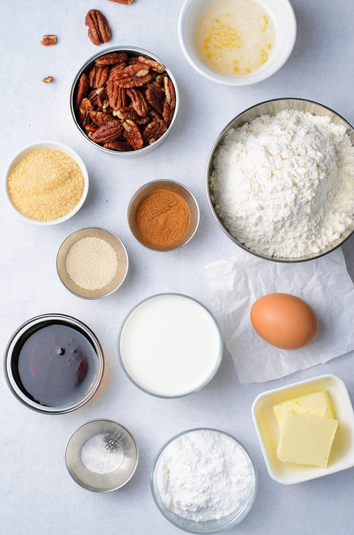 Ingredients for maple pecan bread.