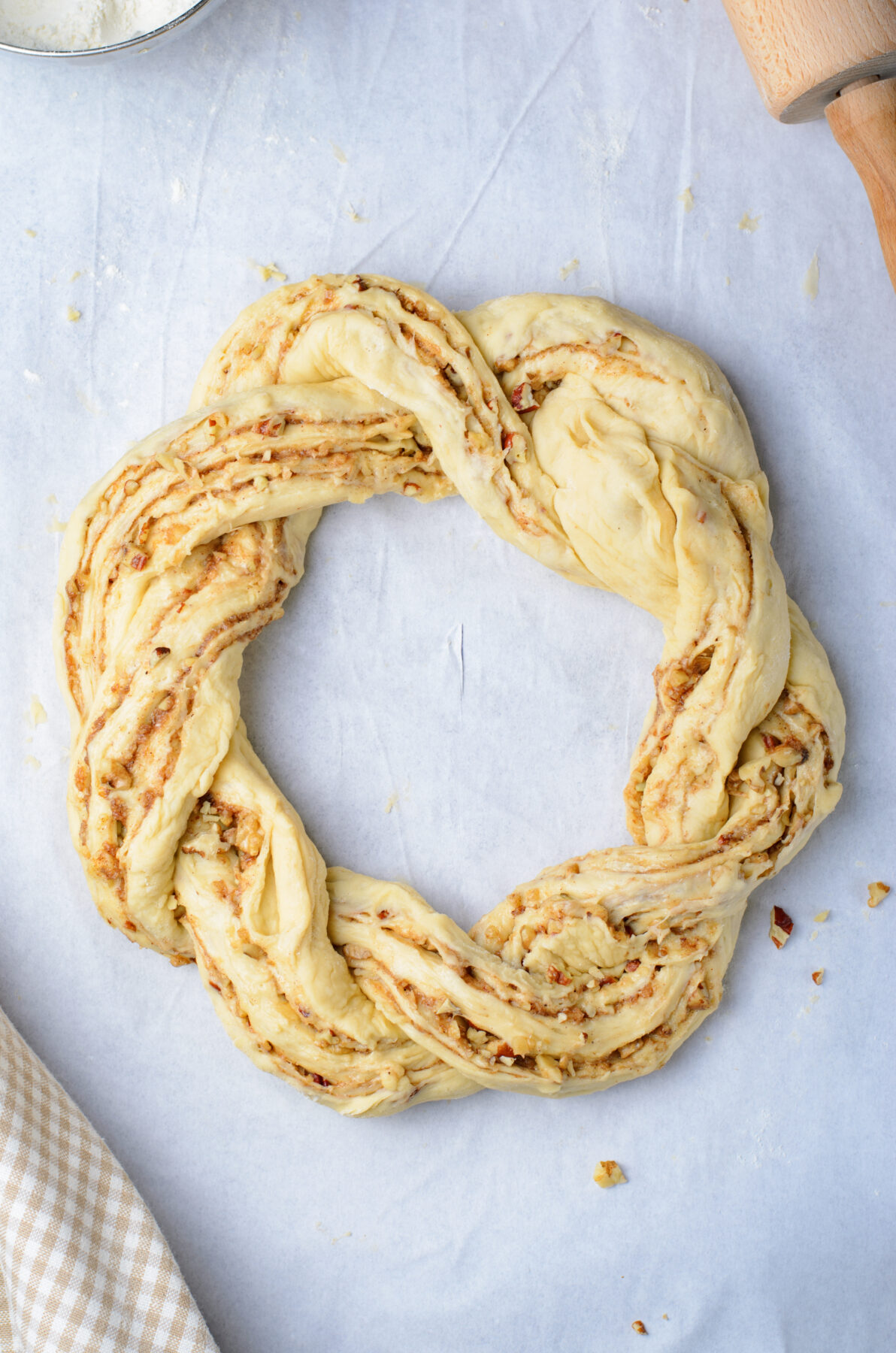 The two ends of the twists formed together to make a wreath.