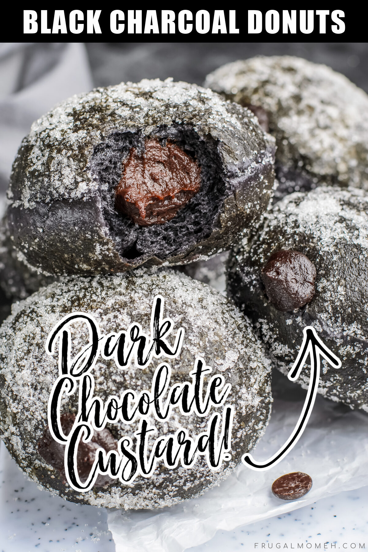 Light and crisp, these Black Charcoal Donuts with Dark Chocolate Custard are made with charcoal and filled with rich dark chocolate custard.