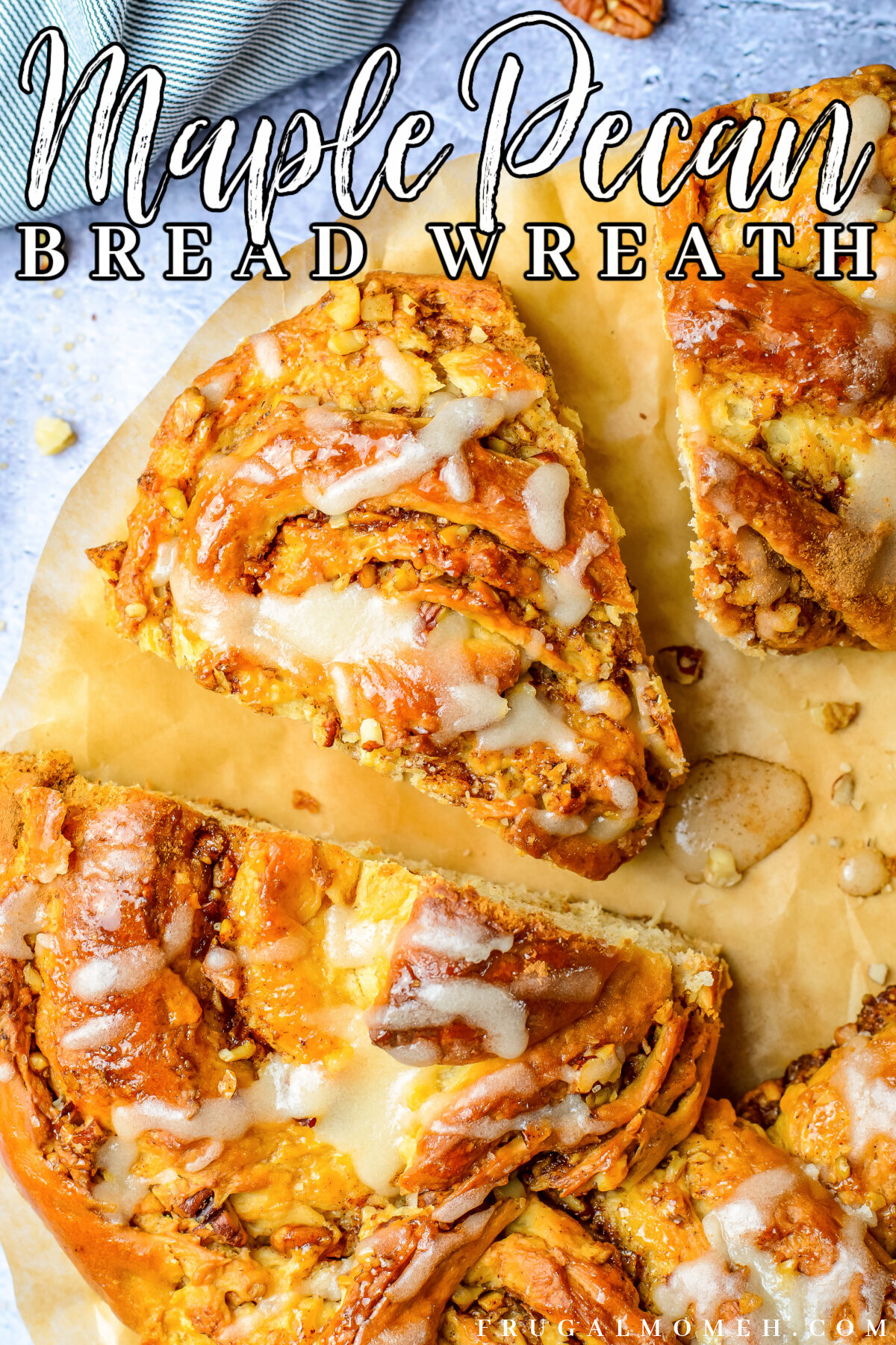 This Maple Pecan Wreath Bread is made up of soft and fluffy yeast dough with a cinnamon pecan filling, all topped with a sweet maple glaze.