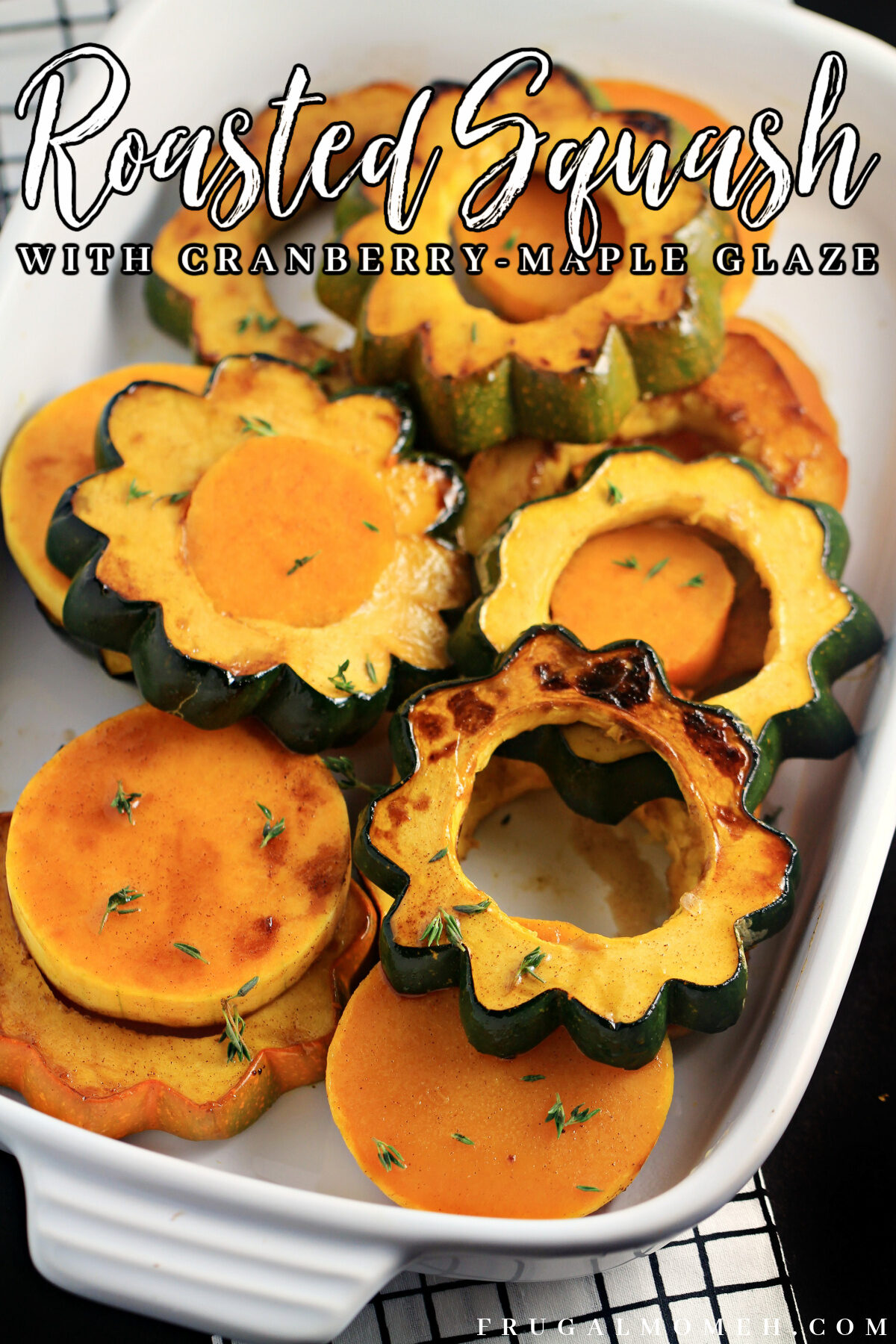 This Roasted Squash with Cranberry-Maple Glaze recipe makes for a perfect autumn side dish. A delicious Thanksgiving side dish!