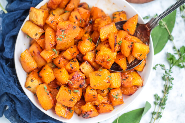 Roasted Butternut Squash with Brown Sugar & Herbs