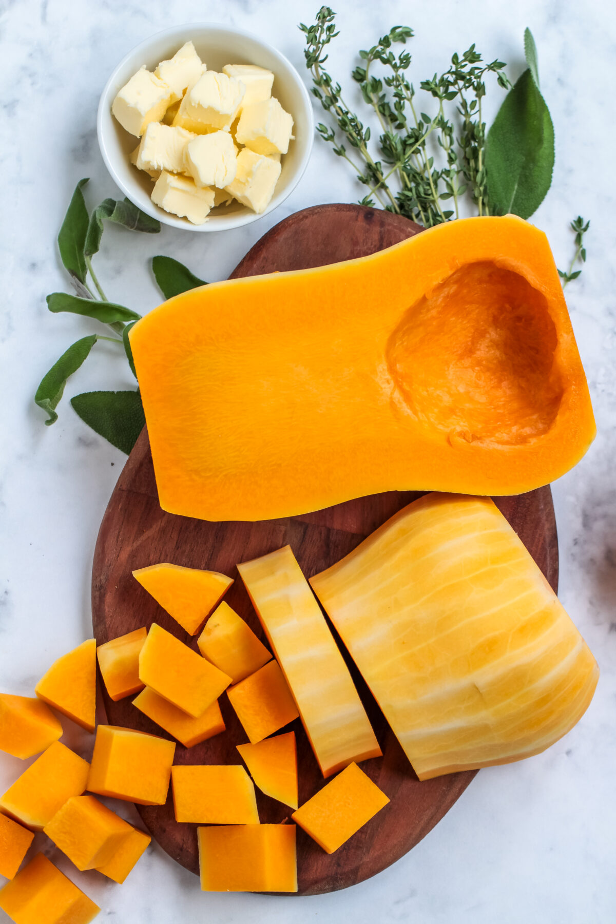 Butternut squash being cubed.